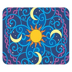 Sun Moon Star Space Purple Pink Blue Yellow Wave Double Sided Flano Blanket (small)  by Alisyart