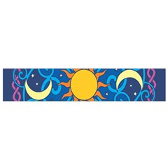Sun Moon Star Space Purple Pink Blue Yellow Wave Flano Scarf (small)