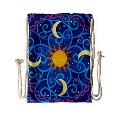 Sun Moon Star Space Purple Pink Blue Yellow Wave Drawstring Bag (small)