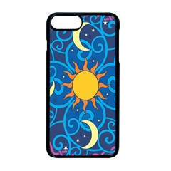 Sun Moon Star Space Purple Pink Blue Yellow Wave Apple Iphone 7 Plus Seamless Case (black)