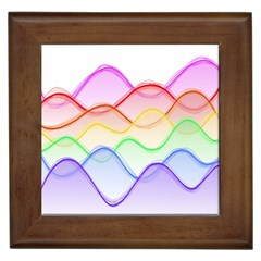 Twizzling Brain Waves Neon Wave Rainbow Color Pink Red Yellow Green Purple Blue Framed Tiles by Alisyart