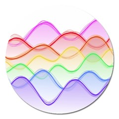 Twizzling Brain Waves Neon Wave Rainbow Color Pink Red Yellow Green Purple Blue Magnet 5  (round) by Alisyart