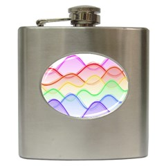 Twizzling Brain Waves Neon Wave Rainbow Color Pink Red Yellow Green Purple Blue Hip Flask (6 Oz)