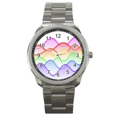 Twizzling Brain Waves Neon Wave Rainbow Color Pink Red Yellow Green Purple Blue Sport Metal Watch