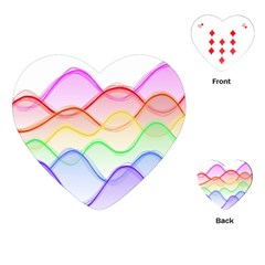 Twizzling Brain Waves Neon Wave Rainbow Color Pink Red Yellow Green Purple Blue Playing Cards (heart)  by Alisyart