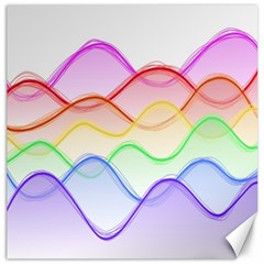 Twizzling Brain Waves Neon Wave Rainbow Color Pink Red Yellow Green Purple Blue Canvas 12  X 12