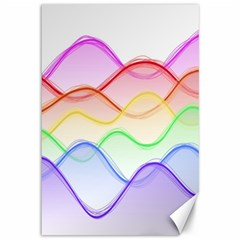 Twizzling Brain Waves Neon Wave Rainbow Color Pink Red Yellow Green Purple Blue Canvas 12  X 18   by Alisyart