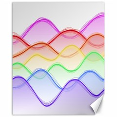 Twizzling Brain Waves Neon Wave Rainbow Color Pink Red Yellow Green Purple Blue Canvas 16  X 20   by Alisyart