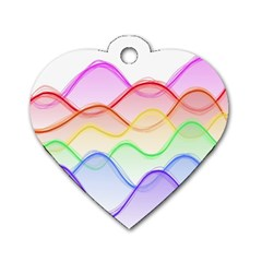 Twizzling Brain Waves Neon Wave Rainbow Color Pink Red Yellow Green Purple Blue Dog Tag Heart (one Side) by Alisyart