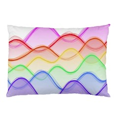 Twizzling Brain Waves Neon Wave Rainbow Color Pink Red Yellow Green Purple Blue Pillow Case
