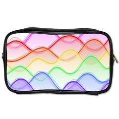 Twizzling Brain Waves Neon Wave Rainbow Color Pink Red Yellow Green Purple Blue Toiletries Bags 2 Side