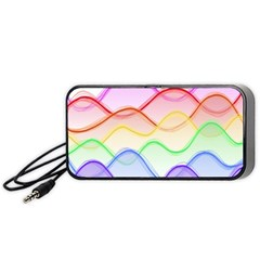 Twizzling Brain Waves Neon Wave Rainbow Color Pink Red Yellow Green Purple Blue Portable Speaker (black) by Alisyart