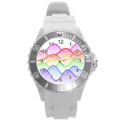 Twizzling Brain Waves Neon Wave Rainbow Color Pink Red Yellow Green Purple Blue Round Plastic Sport Watch (l)