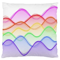 Twizzling Brain Waves Neon Wave Rainbow Color Pink Red Yellow Green Purple Blue Large Cushion Case (two Sides) by Alisyart