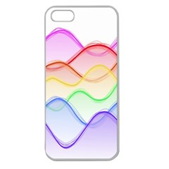 Twizzling Brain Waves Neon Wave Rainbow Color Pink Red Yellow Green Purple Blue Apple Seamless Iphone 5 Case (clear)