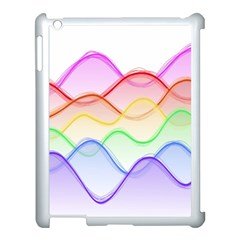 Twizzling Brain Waves Neon Wave Rainbow Color Pink Red Yellow Green Purple Blue Apple Ipad 3/4 Case (white)