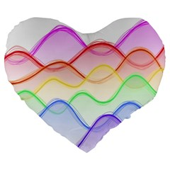 Twizzling Brain Waves Neon Wave Rainbow Color Pink Red Yellow Green Purple Blue Large 19  Premium Heart Shape Cushions