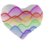 Twizzling Brain Waves Neon Wave Rainbow Color Pink Red Yellow Green Purple Blue Large 19  Premium Heart Shape Cushions Front