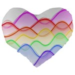 Twizzling Brain Waves Neon Wave Rainbow Color Pink Red Yellow Green Purple Blue Large 19  Premium Heart Shape Cushions Back