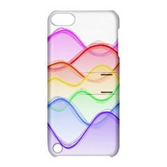 Twizzling Brain Waves Neon Wave Rainbow Color Pink Red Yellow Green Purple Blue Apple Ipod Touch 5 Hardshell Case With Stand