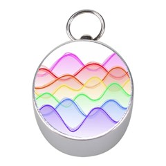 Twizzling Brain Waves Neon Wave Rainbow Color Pink Red Yellow Green Purple Blue Mini Silver Compasses by Alisyart