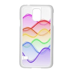Twizzling Brain Waves Neon Wave Rainbow Color Pink Red Yellow Green Purple Blue Samsung Galaxy S5 Case (white)