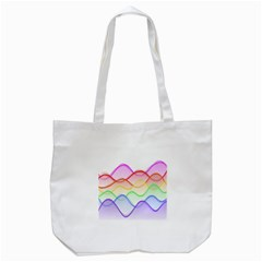 Twizzling Brain Waves Neon Wave Rainbow Color Pink Red Yellow Green Purple Blue Tote Bag (white) by Alisyart