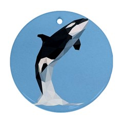 Whale Animals Sea Beach Blue Jump Illustrations Ornament (round)