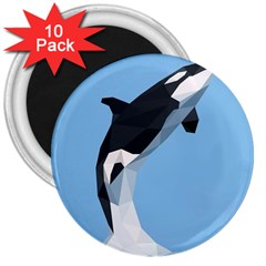 Whale Animals Sea Beach Blue Jump Illustrations 3  Magnets (10 Pack)  by Alisyart