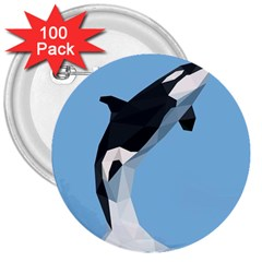 Whale Animals Sea Beach Blue Jump Illustrations 3  Buttons (100 Pack)  by Alisyart