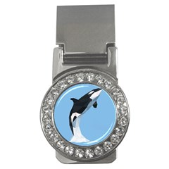 Whale Animals Sea Beach Blue Jump Illustrations Money Clips (cz)