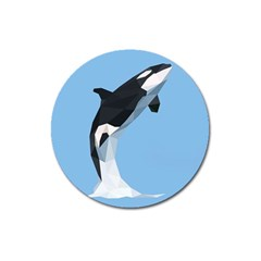 Whale Animals Sea Beach Blue Jump Illustrations Magnet 3  (round) by Alisyart