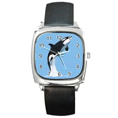 Whale Animals Sea Beach Blue Jump Illustrations Square Metal Watch by Alisyart