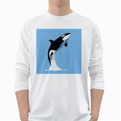 Whale Animals Sea Beach Blue Jump Illustrations White Long Sleeve T Shirts