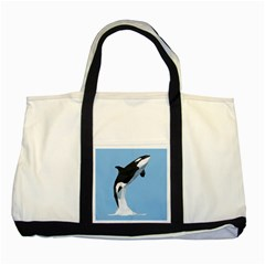 Whale Animals Sea Beach Blue Jump Illustrations Two Tone Tote Bag
