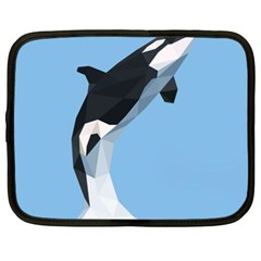 Whale Animals Sea Beach Blue Jump Illustrations Netbook Case (xxl)  by Alisyart