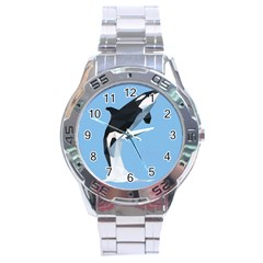 Whale Animals Sea Beach Blue Jump Illustrations Stainless Steel Analogue Watch
