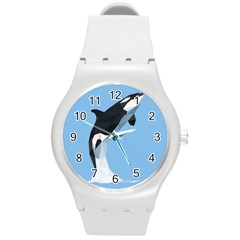 Whale Animals Sea Beach Blue Jump Illustrations Round Plastic Sport Watch (m) by Alisyart