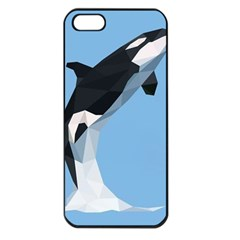 Whale Animals Sea Beach Blue Jump Illustrations Apple Iphone 5 Seamless Case (black)