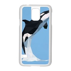 Whale Animals Sea Beach Blue Jump Illustrations Samsung Galaxy S5 Case (white) by Alisyart