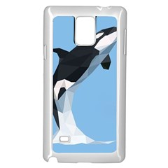 Whale Animals Sea Beach Blue Jump Illustrations Samsung Galaxy Note 4 Case (white)