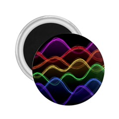 Twizzling Brain Waves Neon Wave Rainbow Color Pink Red Yellow Green Purple Blue Black 2 25  Magnets by Alisyart