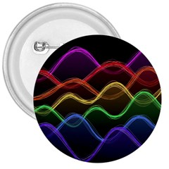 Twizzling Brain Waves Neon Wave Rainbow Color Pink Red Yellow Green Purple Blue Black 3  Buttons by Alisyart