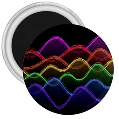 Twizzling Brain Waves Neon Wave Rainbow Color Pink Red Yellow Green Purple Blue Black 3  Magnets by Alisyart