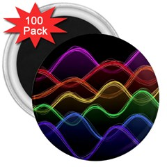 Twizzling Brain Waves Neon Wave Rainbow Color Pink Red Yellow Green Purple Blue Black 3  Magnets (100 Pack) by Alisyart