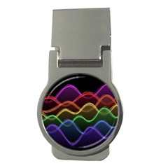 Twizzling Brain Waves Neon Wave Rainbow Color Pink Red Yellow Green Purple Blue Black Money Clips (round)