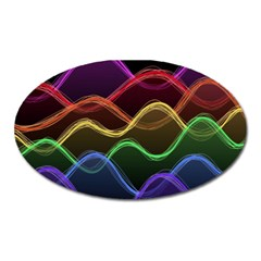 Twizzling Brain Waves Neon Wave Rainbow Color Pink Red Yellow Green Purple Blue Black Oval Magnet