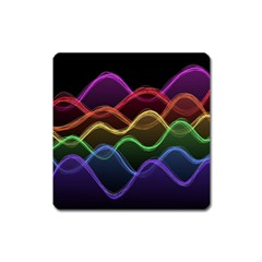 Twizzling Brain Waves Neon Wave Rainbow Color Pink Red Yellow Green Purple Blue Black Square Magnet by Alisyart
