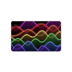 Twizzling Brain Waves Neon Wave Rainbow Color Pink Red Yellow Green Purple Blue Black Magnet (name Card) by Alisyart