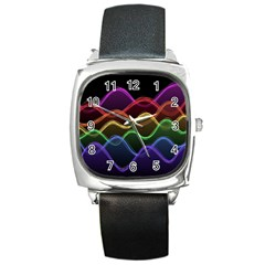 Twizzling Brain Waves Neon Wave Rainbow Color Pink Red Yellow Green Purple Blue Black Square Metal Watch by Alisyart